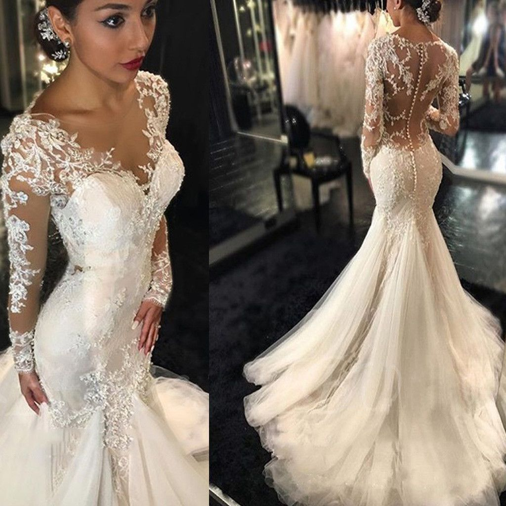 Long dresses for wedding reception  Luxury See Through Long Sleeve Sexy Mermaid Lace Tulle Wedding