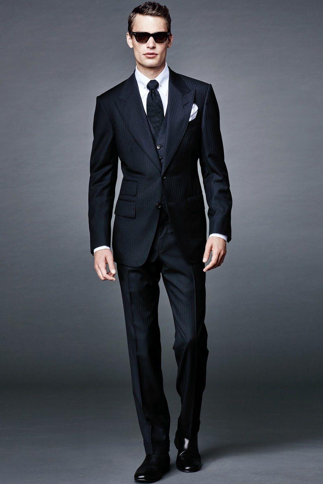 Black dress navy suit - Men S Navy Vertical Striped Three Piece Suit White Dress Shirt Black Leather Chelsea Boots Black Tie