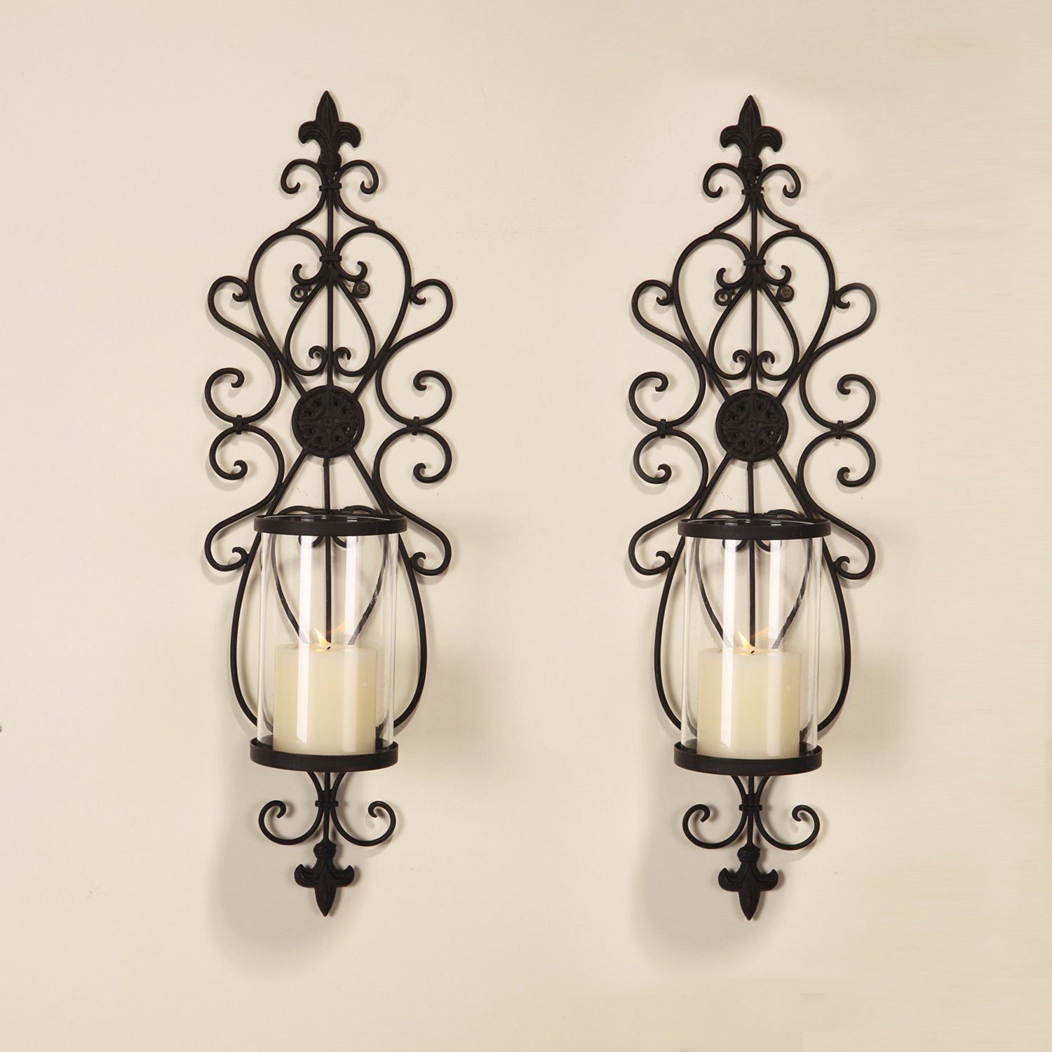 Adecotrading Iron Wall Sconce Candle Holder Set Of 2 Candle Wall Sconces Candle Holder Wall Sconce Wall Candle Holders