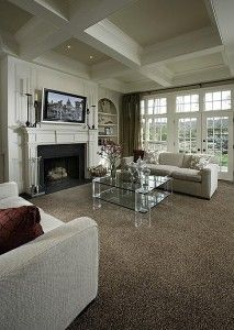 Cute Seating Area With Gray Carpet Gray Walls And White Trim