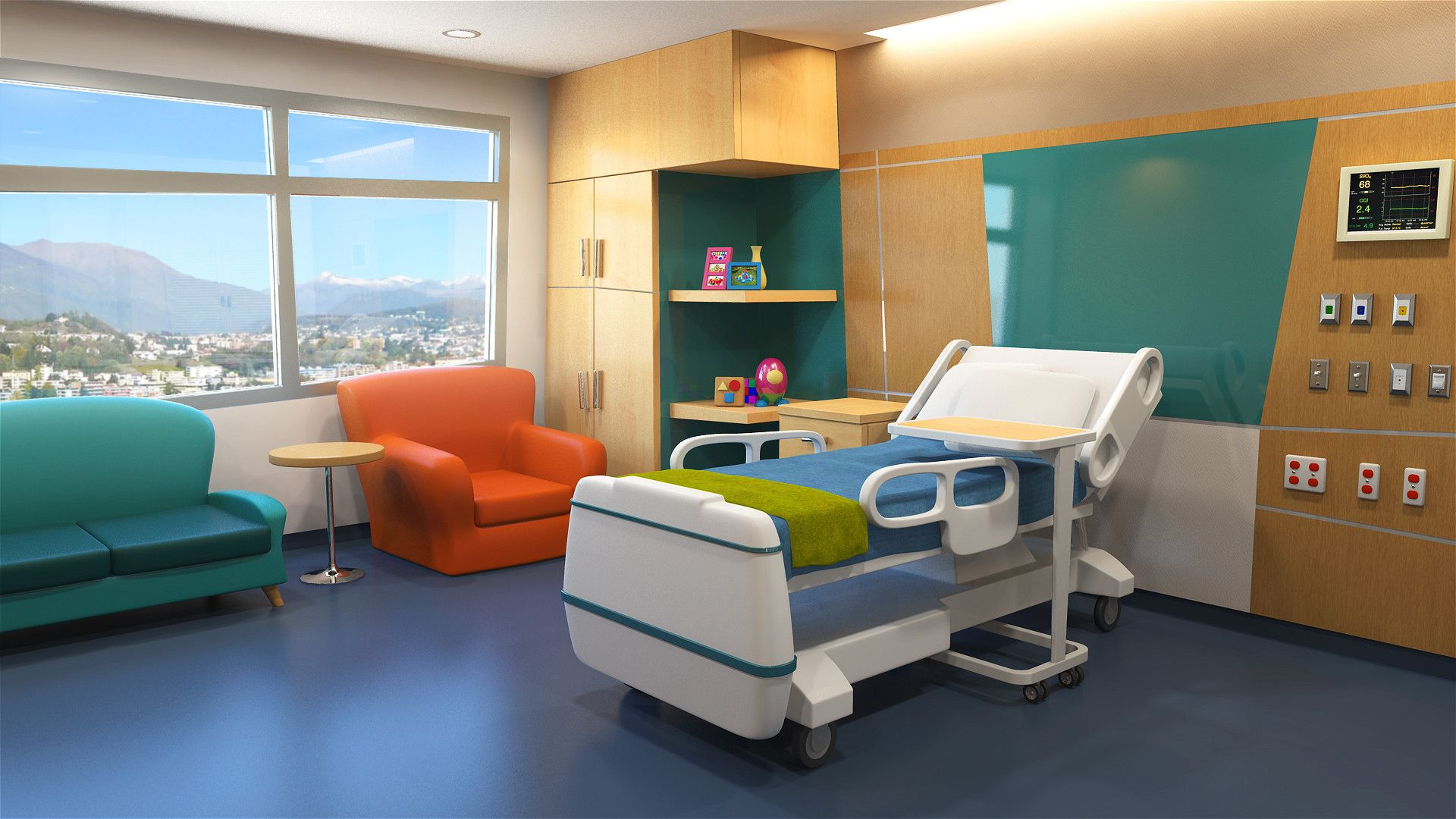 Empty hospital bed cartoon