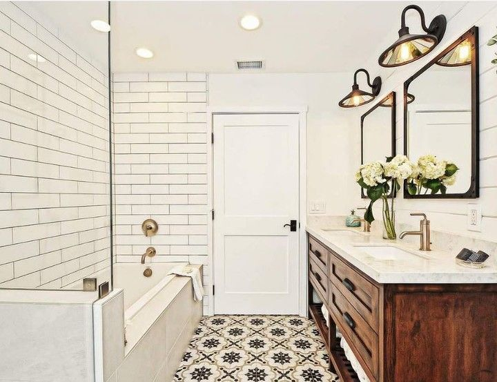 White Subway Tile On The Left White Shiplap On The Right Amazing Tile In The Middle It S Har Bathroom Lighting Inspiration Amazing Bathrooms Bathroom Design