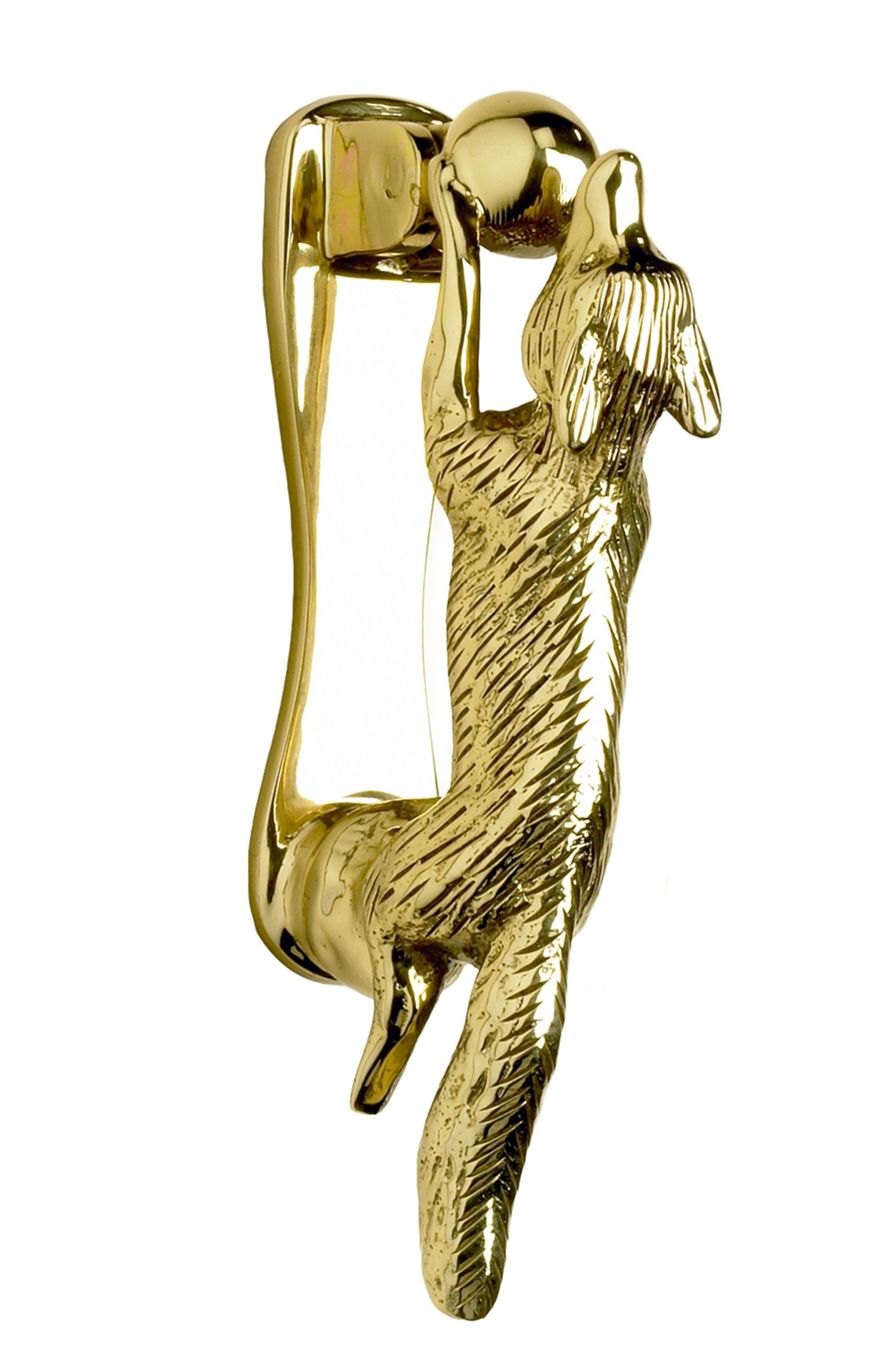 Beautiful Polished Brass Running Fox Door Knocker   Brass Door Knockers   Door  Knockers   Door Furniture