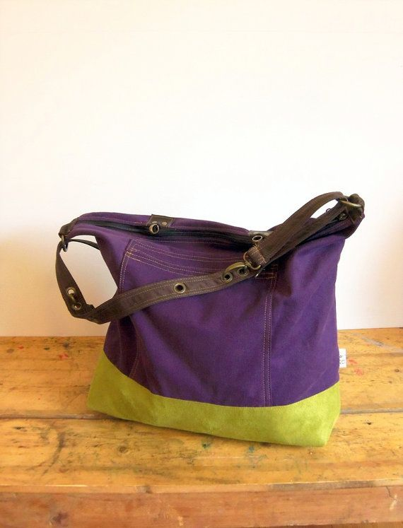 Vegan Laptop Backpack Shoulder Bag Handbag Cross Body In Dark Purple With Avocado Green Suede 100 Like All Nevabags