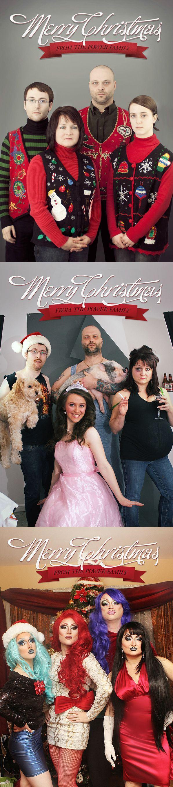 Three Years of Christmas Family Photos Funny