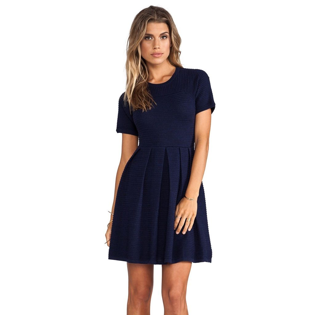 New Shoshanna Valentina Navy Sweater Dress
