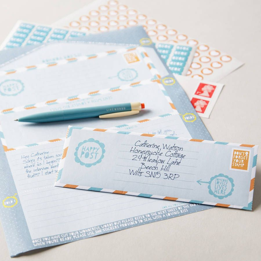 Happy Post Letter Envelope Pad  Write    Envelopes