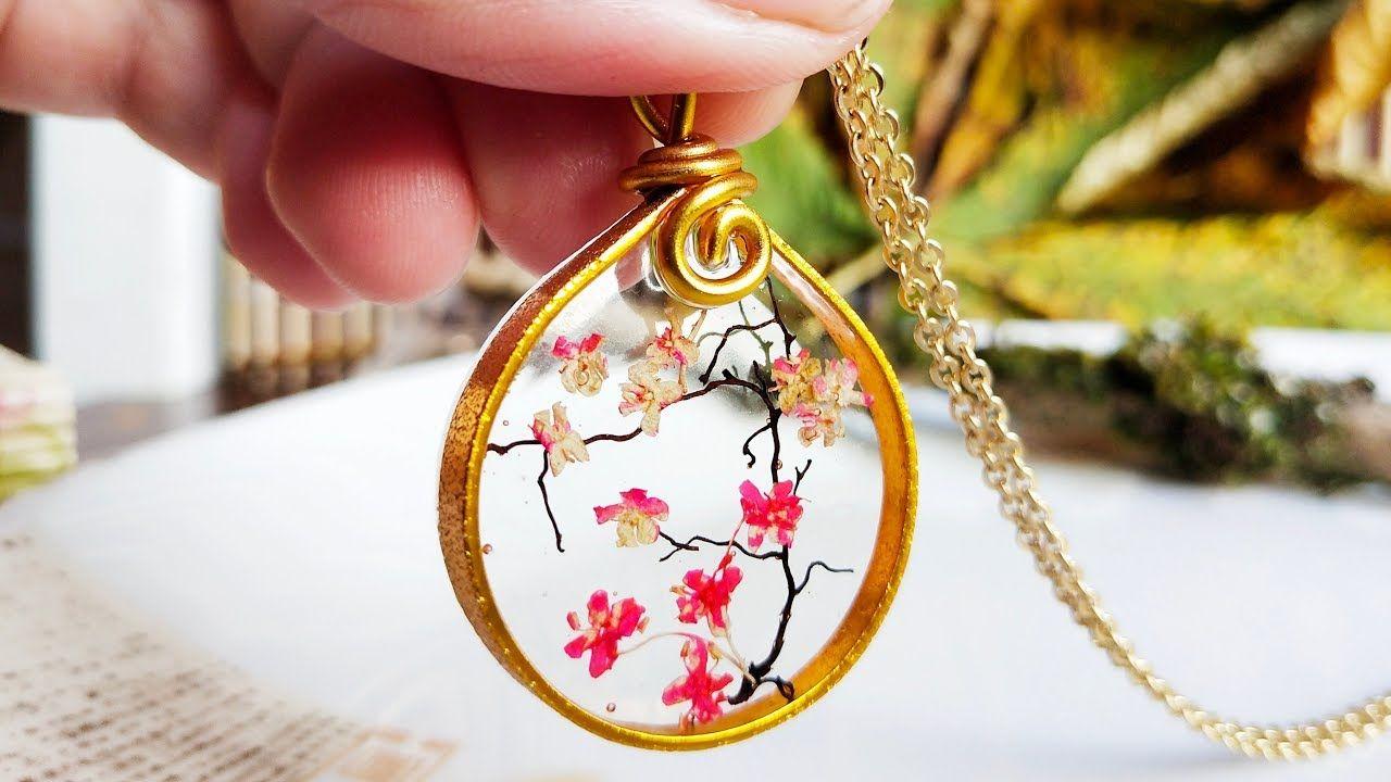Miniature Japanese Cherry Blossom Tree Resin Pendant Resin Pendant Cherry Blossom Necklace Cute Jewelry