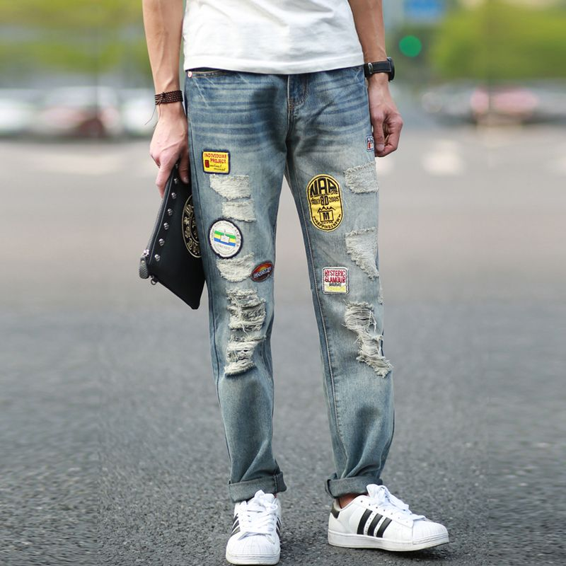 2015 New jeans men skinny jeans for men printed jeans fashion ...
