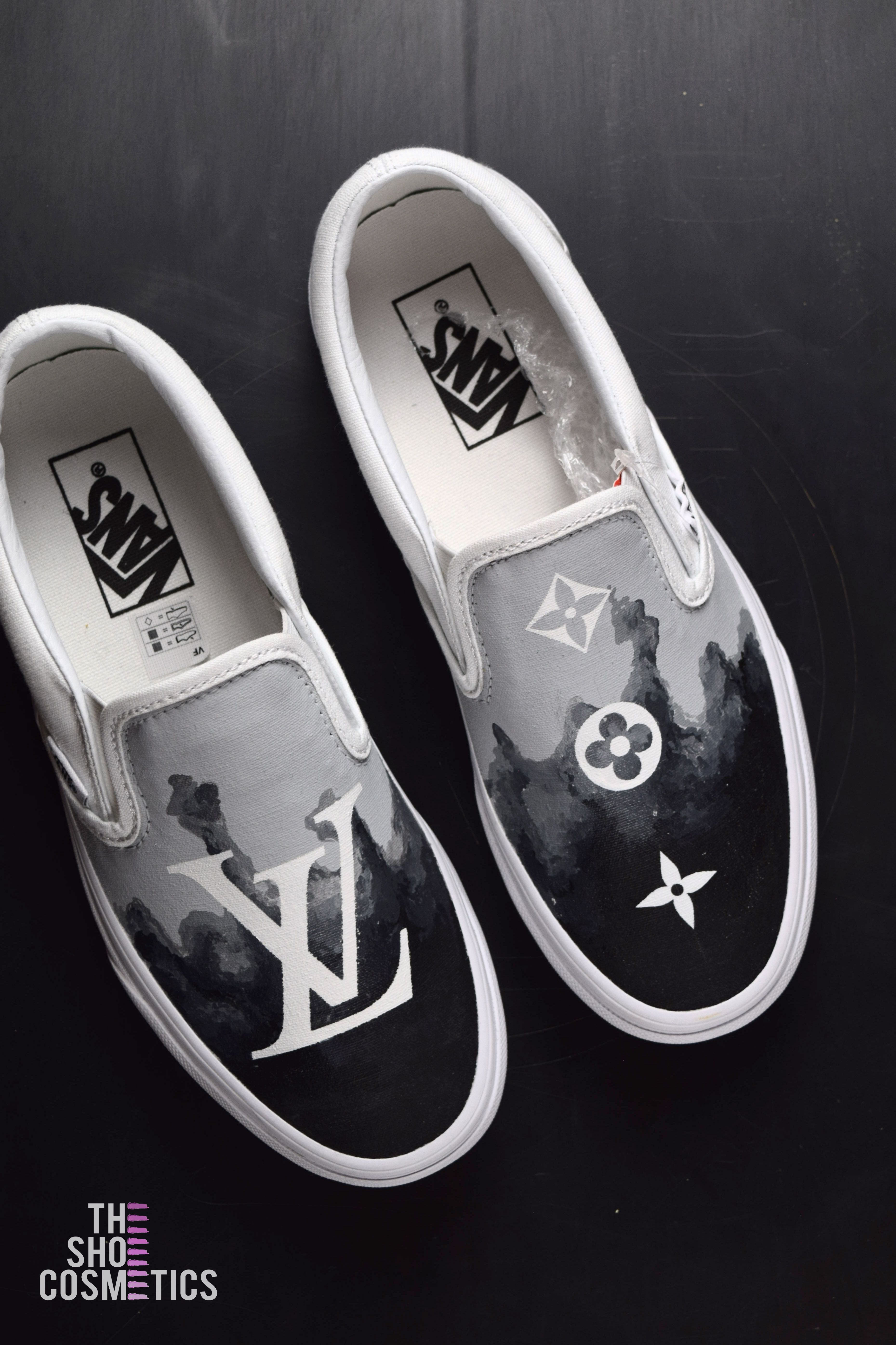 Explore our hand painted LV vans slip on sneakers. Looking for custom vans  slip on 73019d3e5