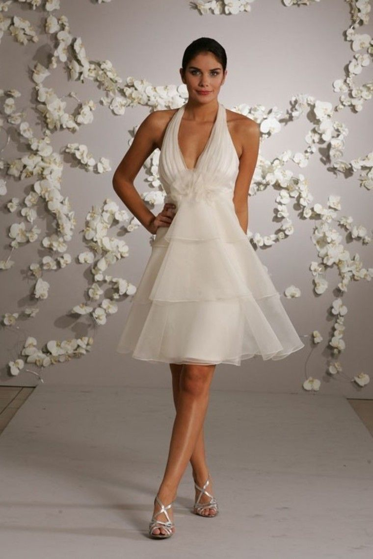 Glamorous a line halter shortmini knee length organza wedding dress