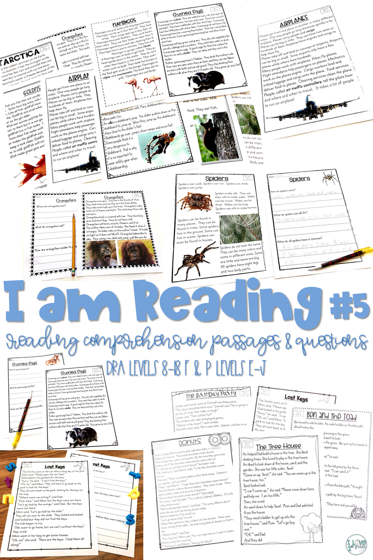 I am Reading! #5 Fiction & Nonfiction Reading Comprehension Passages ...