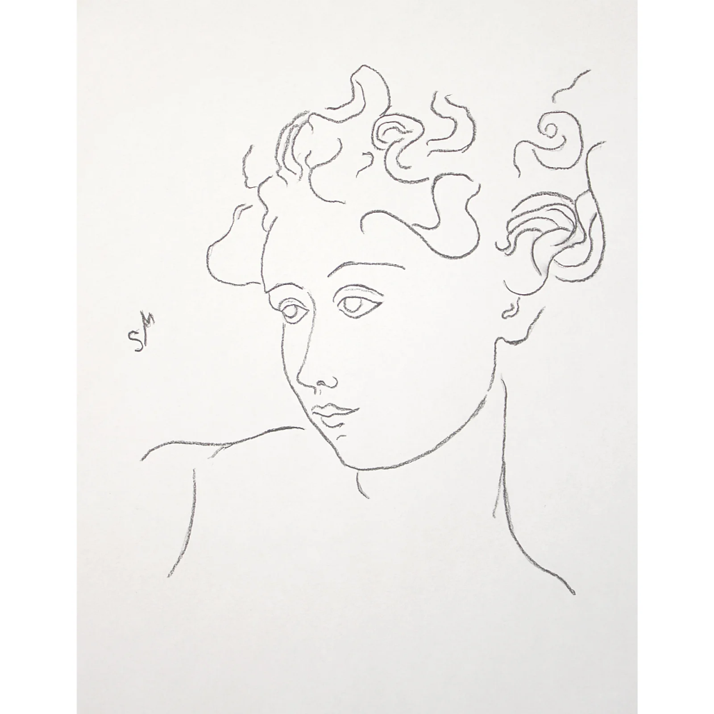 """Woman With Flying Curls"" Minimalist Inspired Charcoal Drawing by Sarah Myers"