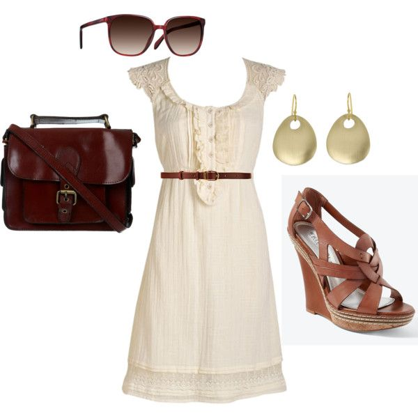 """""""Lace dress w/ tan and gold accents"""" by maxcyk on Polyvore"""