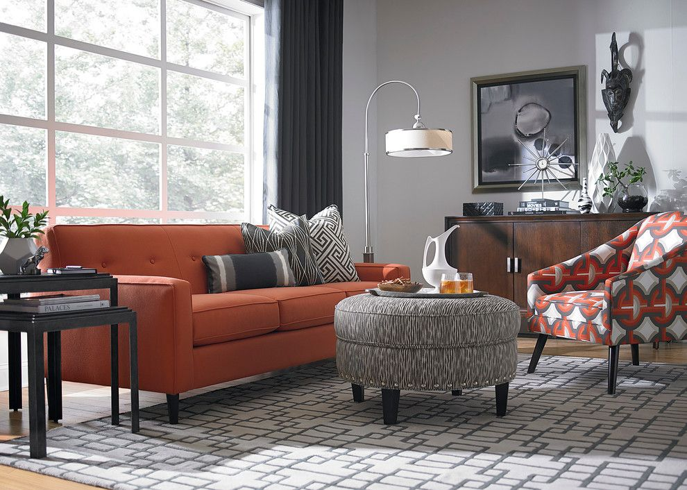 Burnt orange light gray for tv room home sweet home for Grey orange living room