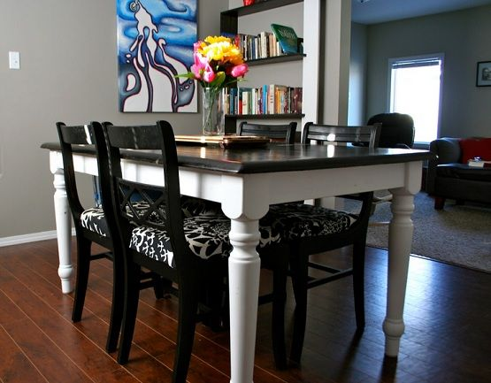 Refinished top black oak table and chairs How to Refinish and ...