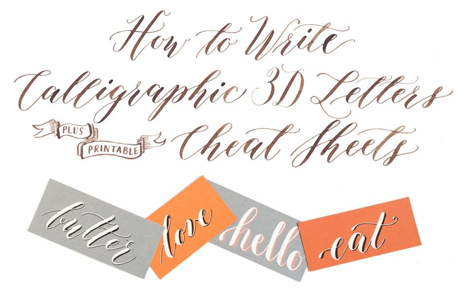 How to Write Calligraphic 3D Letters + Printable \
