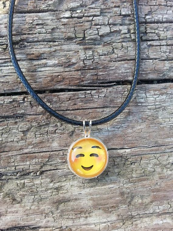 Emoji Charm Necklace Dainty Minimalist Pendant Leather Rare Handmade Jewelry