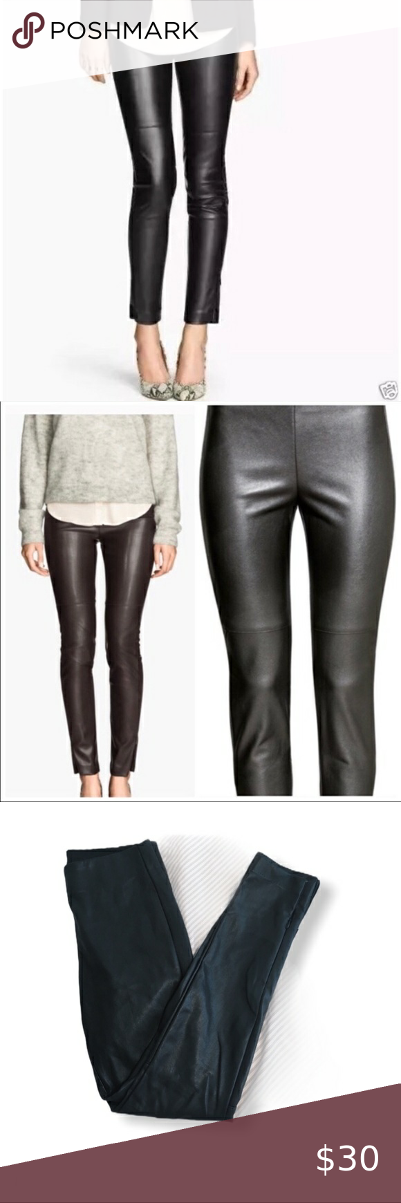 H M Vegan Leather Ankle Zip Leggings In 2020 Ankle Zip Leggings Faux Leather Leggings Leggings Are Not Pants