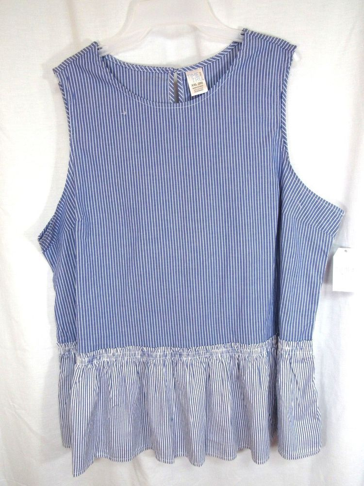 f6fba8ee205e2c New Time and Tru Top Sz XXL 20 Blue Stripes Pull Over Sleeveless Peplum  Career  TimeandTru  Top  Casual