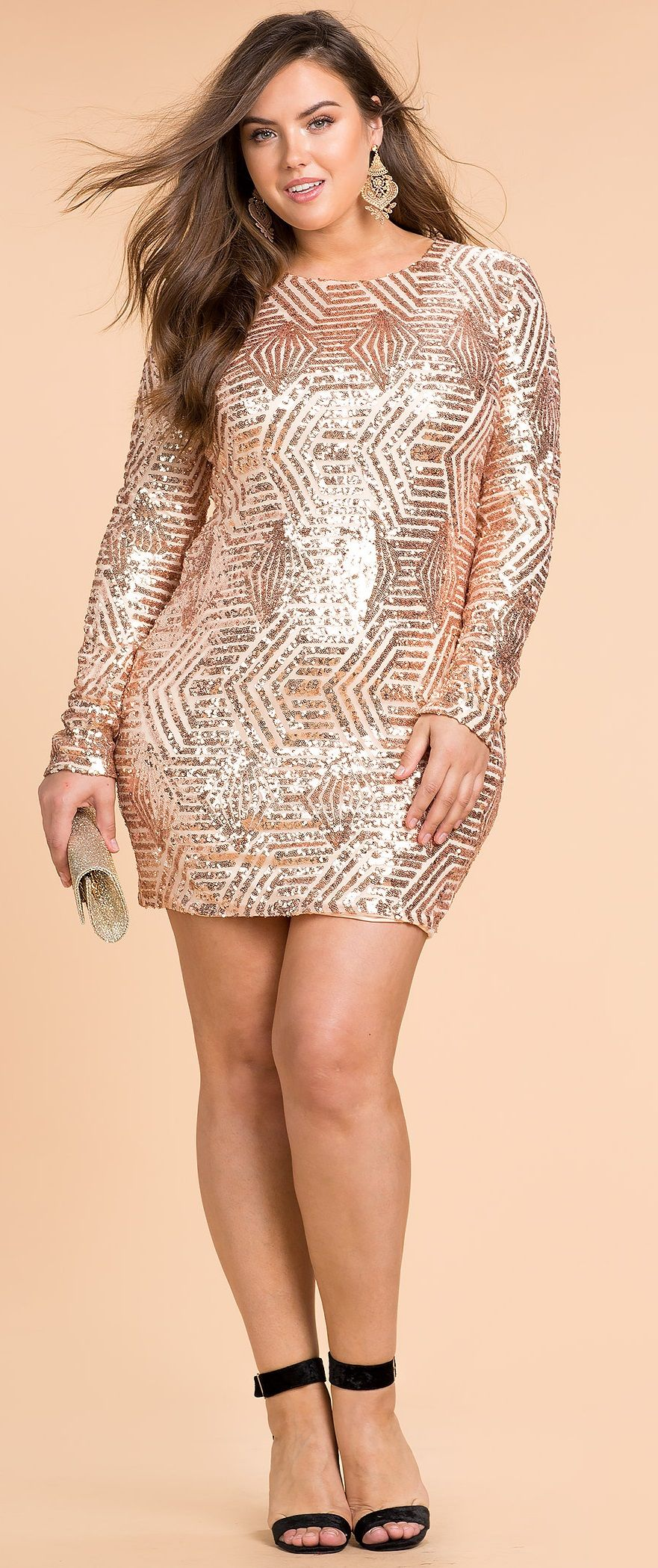 Plus Size Sequin Bodycon Dress - not this color for me, but ...