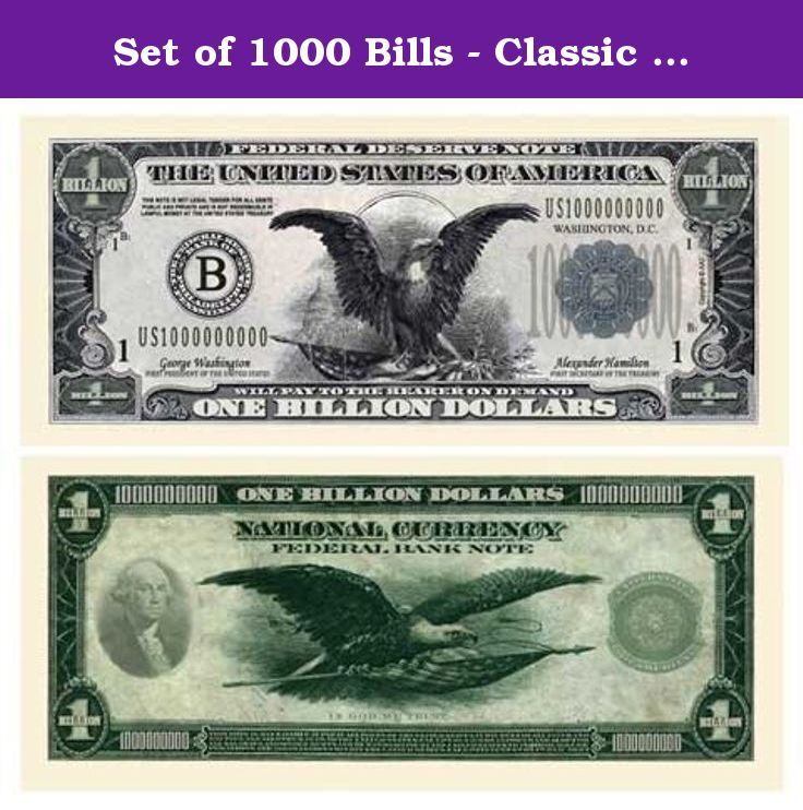 Set Of 1000 Bills Classic Billion Dollar Bill This Bill Continues The Chapter In The Series Of American Art Classics Au Dollar Bill Dollar Money Collection