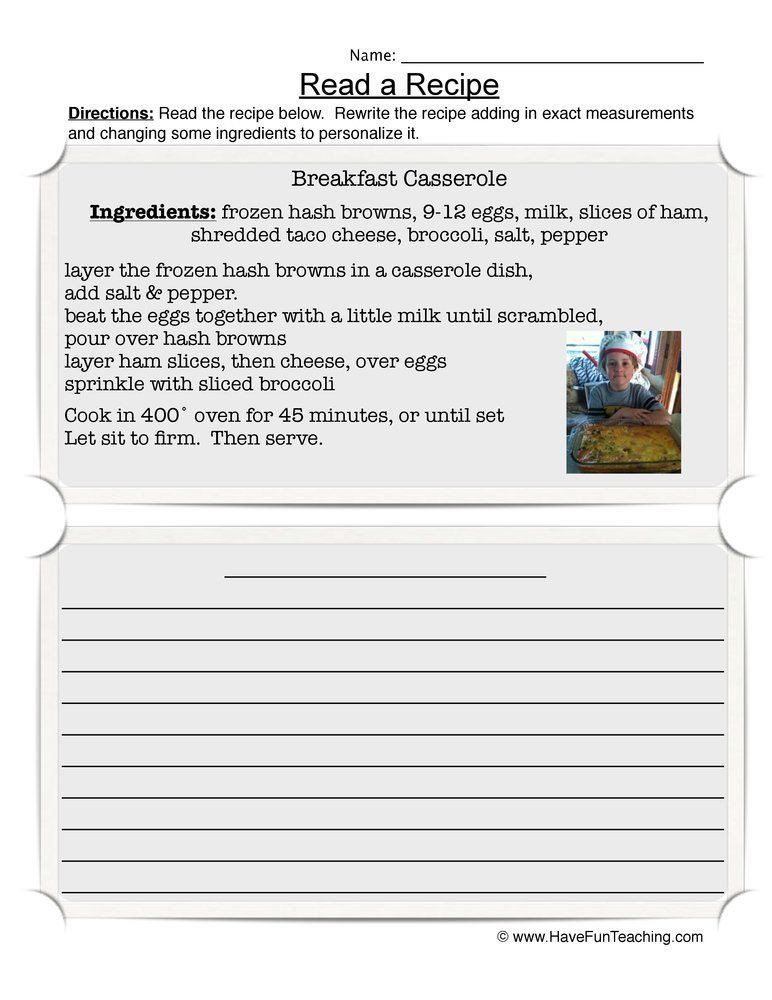 Recipe Reading Comprehension Worksheets Read A Recipe Worksheet In 2020 Reading Comprehension Worksheets Reading Comprehension Comprehension Worksheets