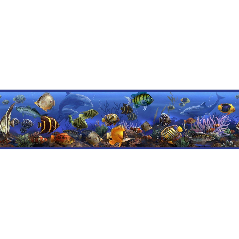 Blue bathroom wallpaper border - Roommates Rmk1004bcs Under The Sea Peel And Stick Wall Border Amazon Com