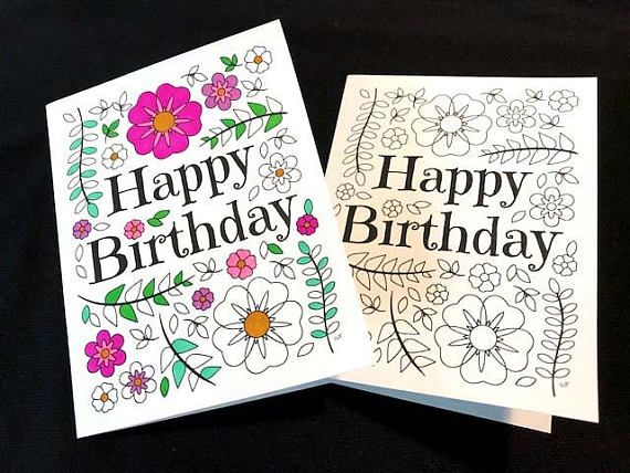 Happy Birthday Card With Flowers And Leaves Pdf Zentangle Coloring