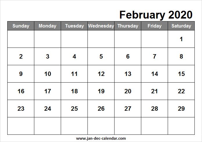 Calendar February 2020 Template | February calendar ...