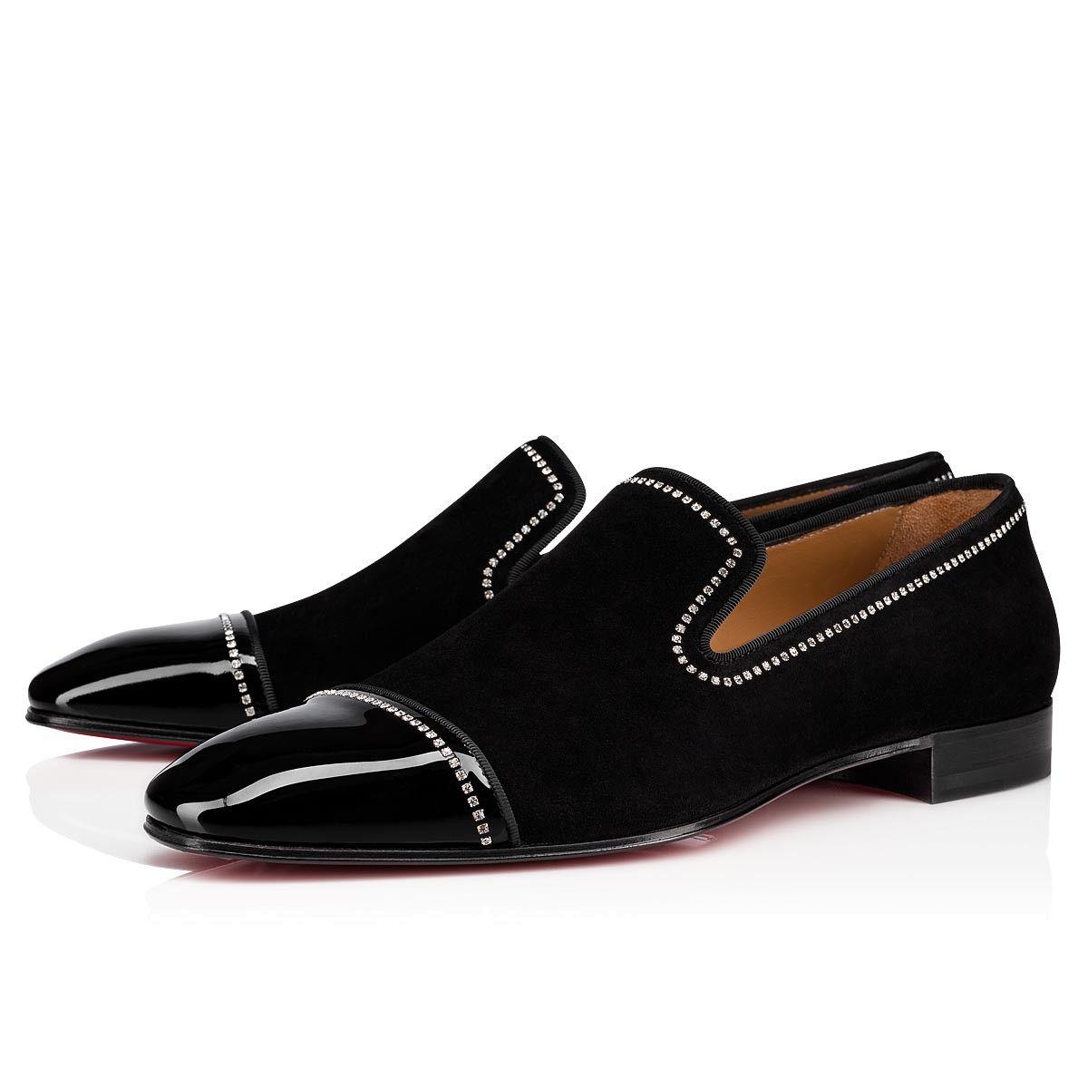 Vendelion Flat BlackCrystal Suede Men Shoes Christian