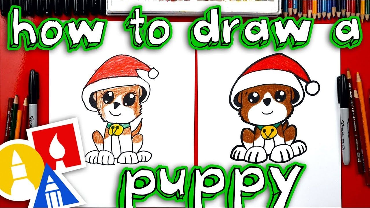 How To Draw A Christmas Puppy | Christmas puppy, Drawing for kids
