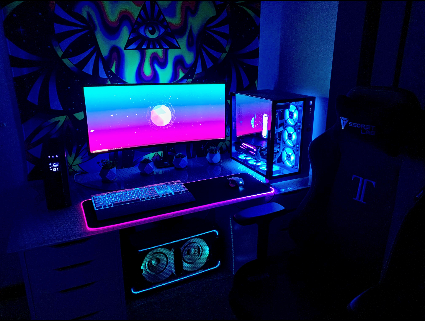 Neon Build With Some Woofer Juice Courtesy Of Reddit User U Psychadelic Toast Tylerscustombuild Gaming Room Setup Game Room Design Video Game Rooms