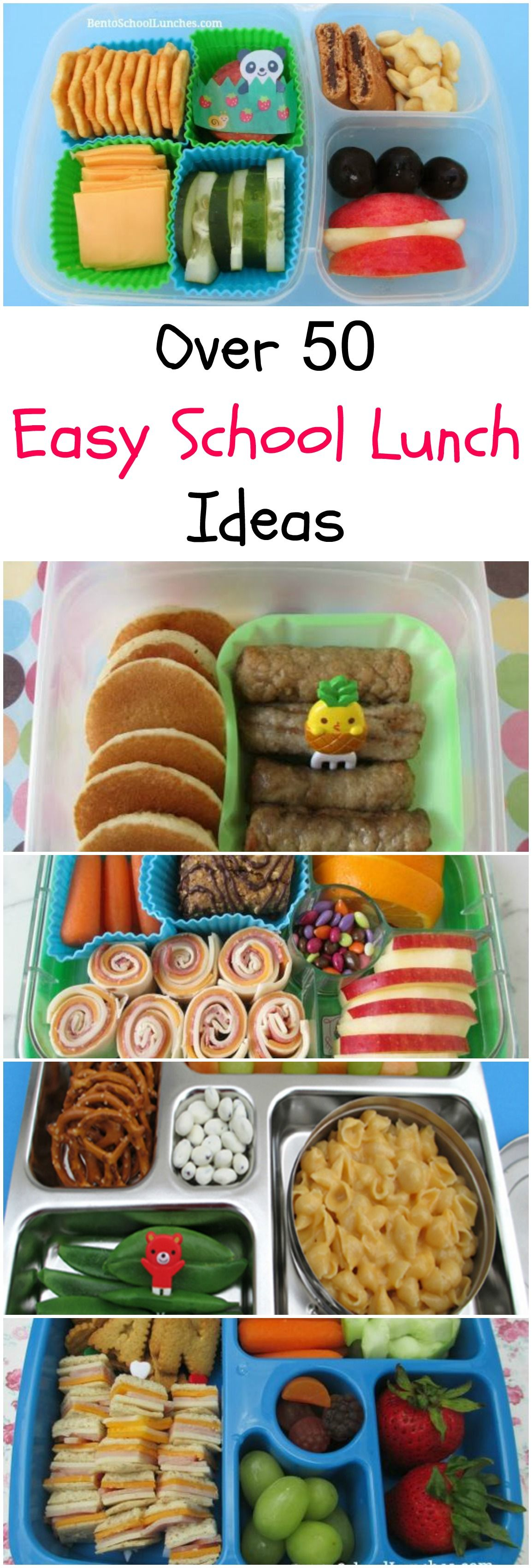 Easy and Fun School Lunch Ideas from Pinwheels, Roll-Ups, DIY Lunchables, Leftovers, Kebabs. #schoollunchideasforkids