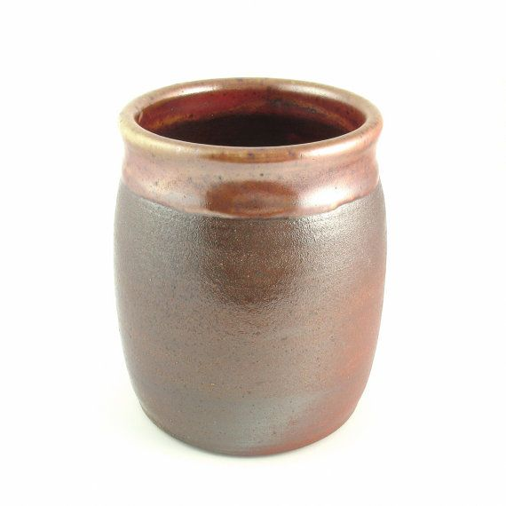 Woodfired Kitchen Crock With Copper Shino Utensil Crock