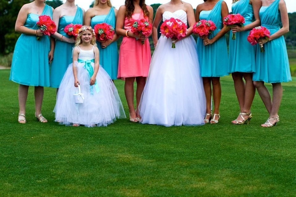 Coral and Turquoise Wedding. Bridesmaids. Flower girl. Turquoise ...