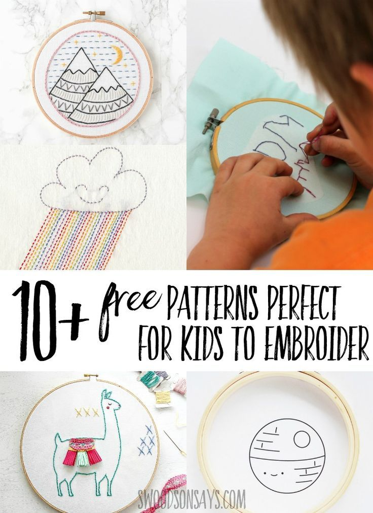 10 Free Simple Embroidery Patterns For Kids Sewing Pinterest