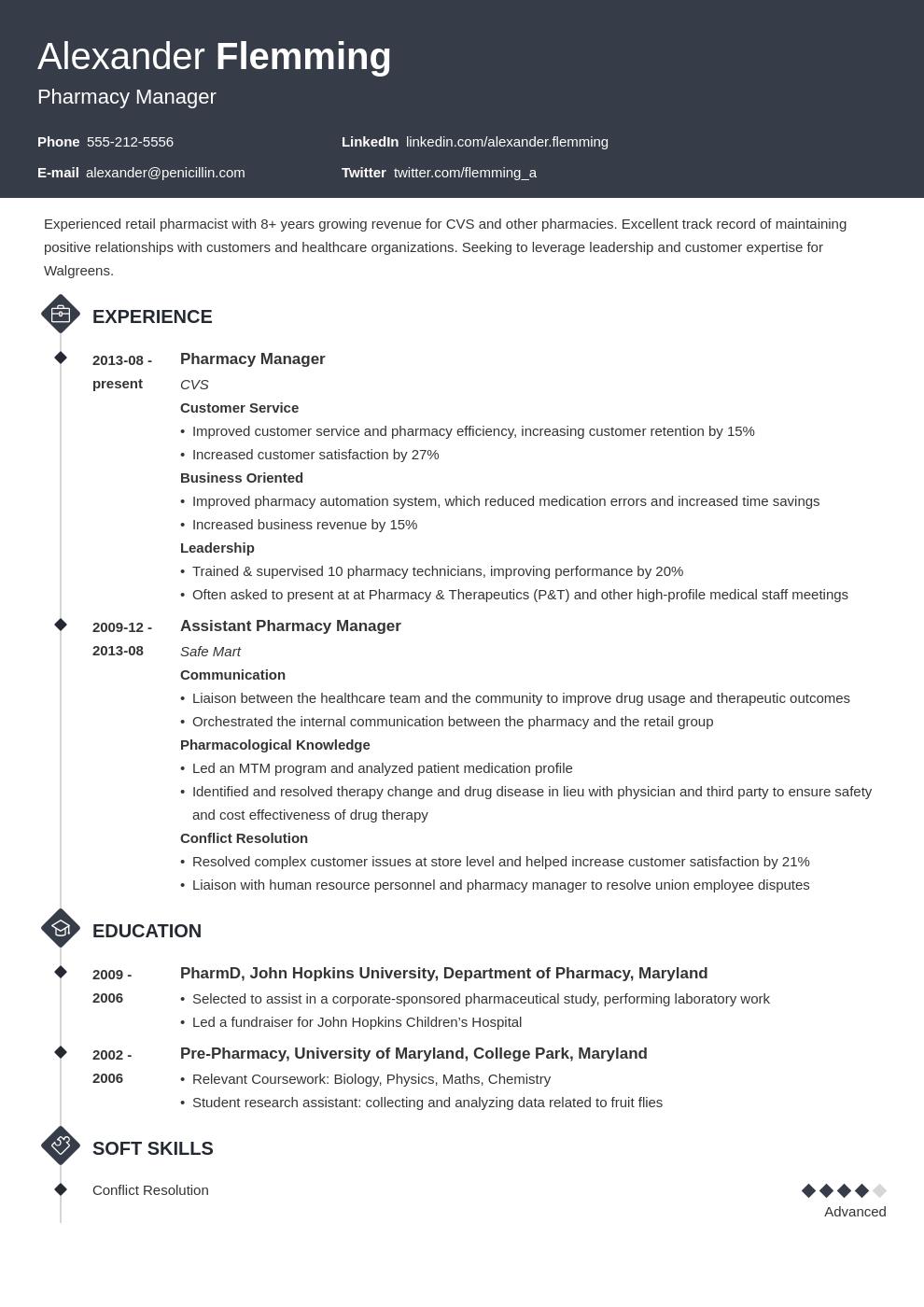 pharmacist resume example template diamond in 2020