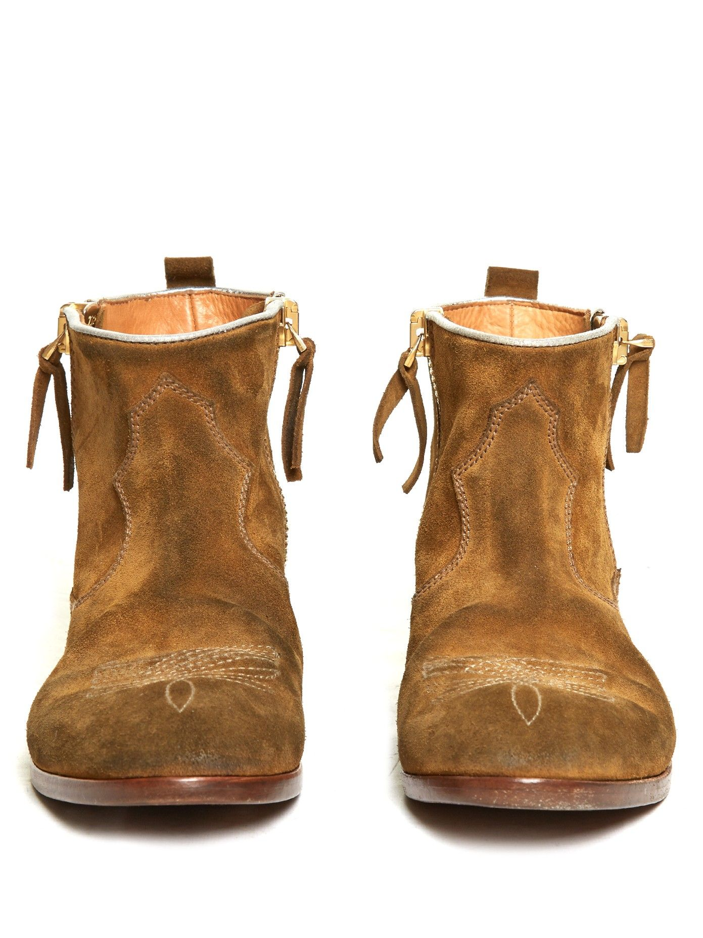 Womens Embroidered Suede Western Ankle Boots Simply Be