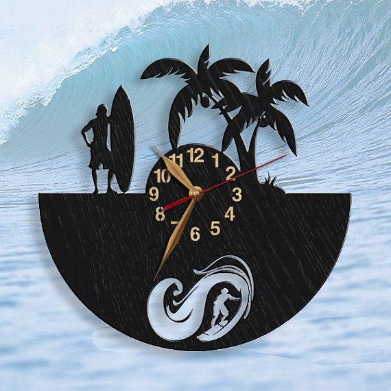Surfing BIG Wood Clock Non-ticking Surfer gift Surfboarding ...