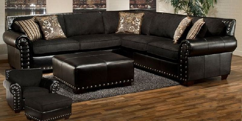 Black Sectional Sofa With Nailhead Trim Sofa Design Ideas Sofa