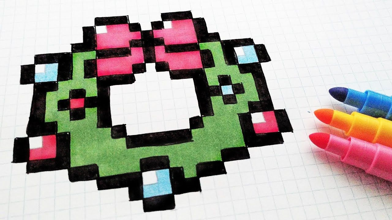 Handmade Pixel Art How To Draw A Christmas Wreath