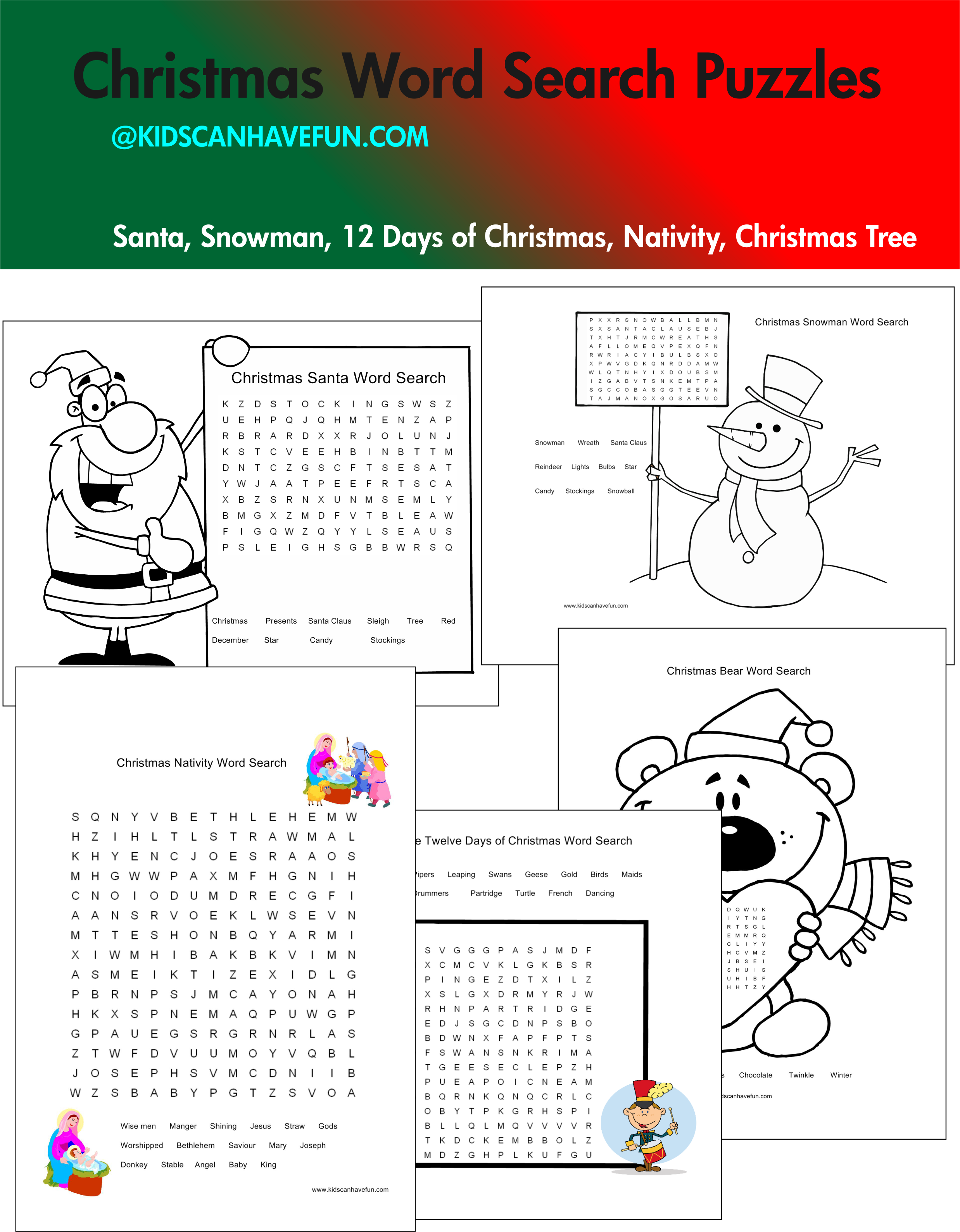 Christmas word search #puzzles http://www.kidscanhavefun.com ...
