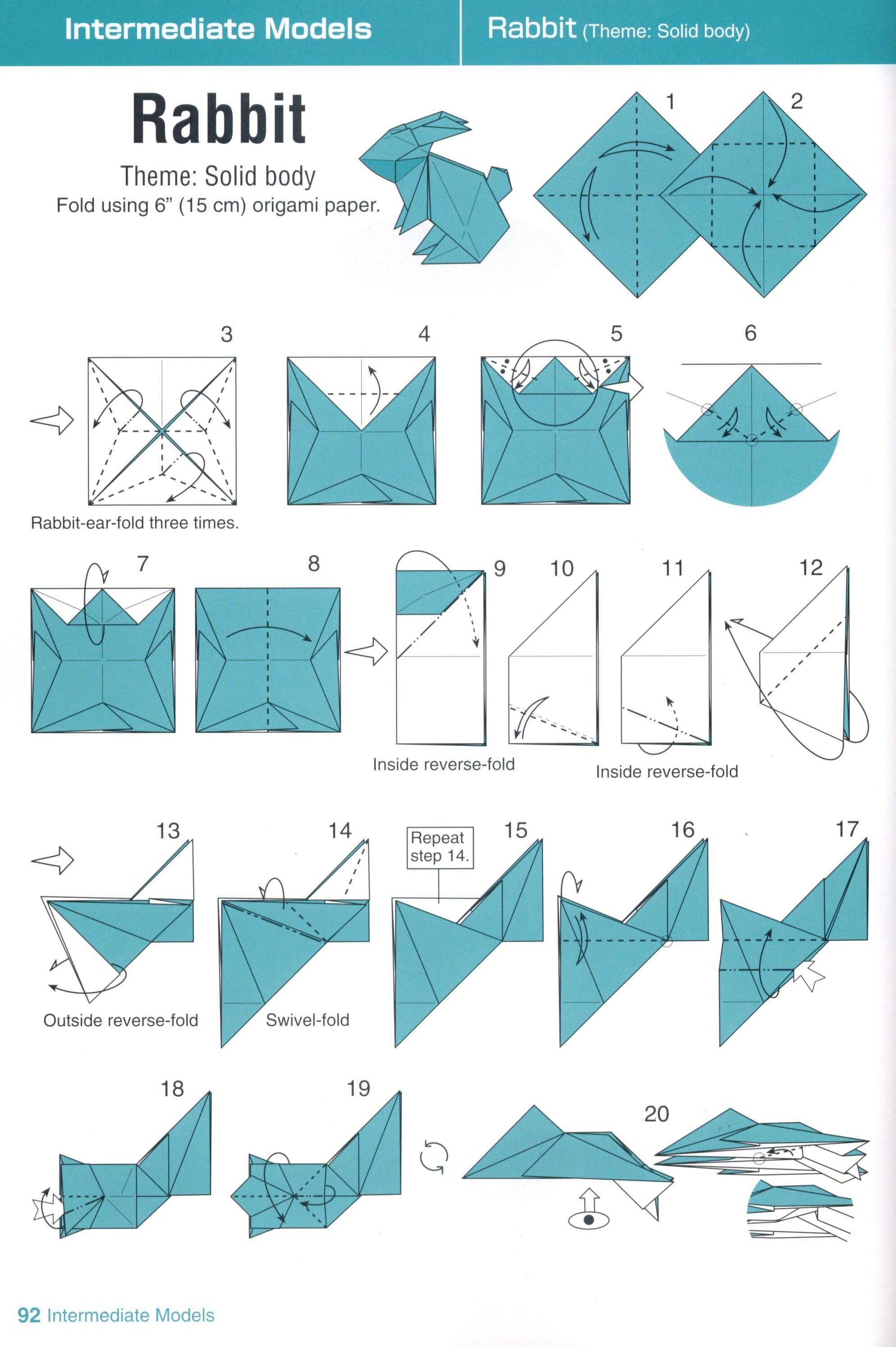 Origami Rabbit - Folding instructions | Easter | Pinterest ...