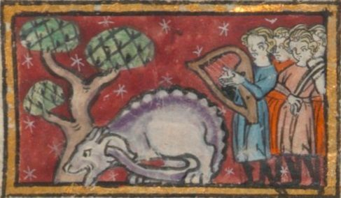 13thc French, Fournival Bestiary harp and ?rebec