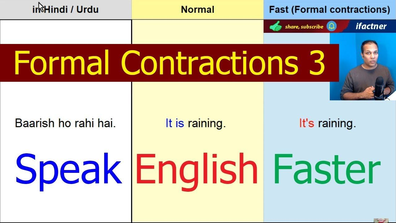 Speak English Faster Fluently With Formal Contractions English Speakin Speaking English English Words English Speaking Practice