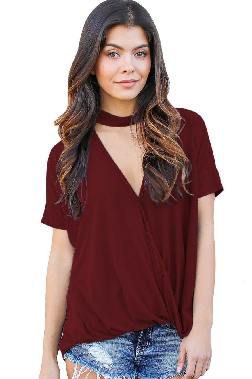 028c3563 Burgundy Choker Neck V Cut Drape Loose Fit Short Sleeve Women Top https://