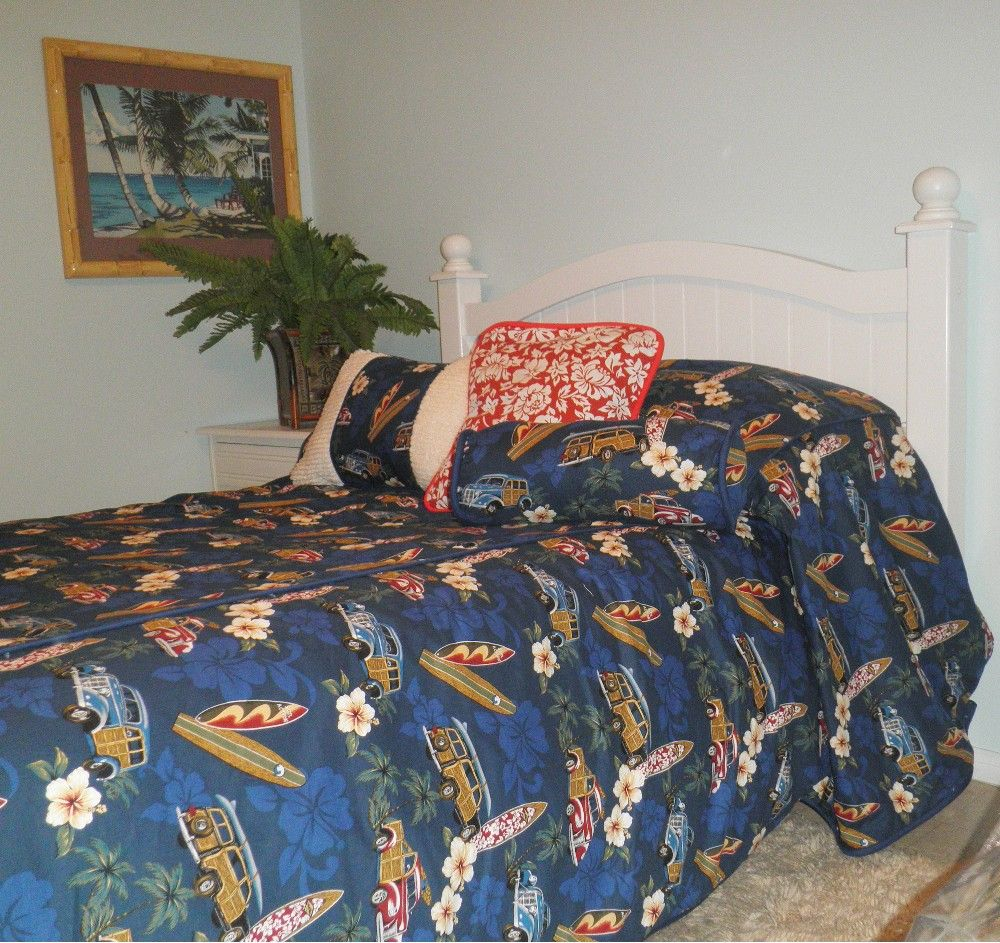 Hawaiian bedspread with woody cars surfboards and hawaiian hibiscus hawaiian bedspread with woody cars surfboards and hawaiian hibiscus flowers on a masculine navy blue izmirmasajfo Images