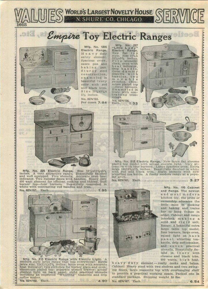 1940 Empire Electric Toy Play Ranges Stove Oven Beetleware Tea Set ADVERTISEMENT