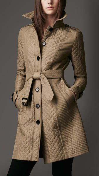 Burberry Beige Long Quilted Trench Coat Trench Coat Coat Winter Attire